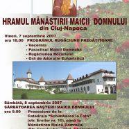 Anunţ: Hramul Mănăstirii Maicii Domnului din Cluj-Napoca