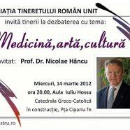 Anunţ: Medicină, artă şi cultură cu prof. dr. N. Hâncu