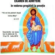 Calendarul admiterii la Seminarul Teologic Eparhial Sf. Ioan Evanghelistul